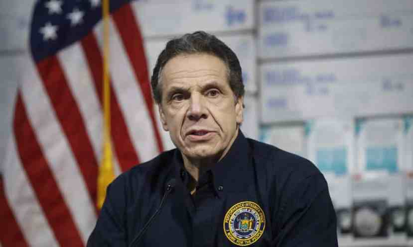 Andrew Cuomo speaks during a news conference in New York on 24 March.