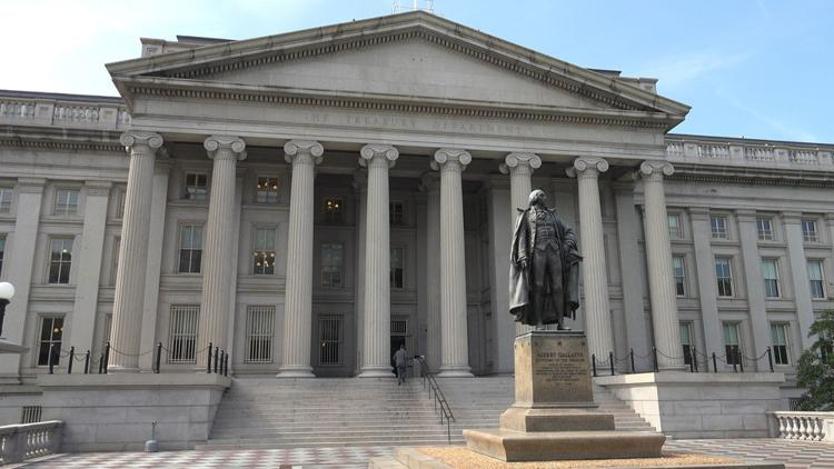 The U.S. Treasury Department building, north entrance, in Washington D.C.  Bakdc | Shutterstock.com
