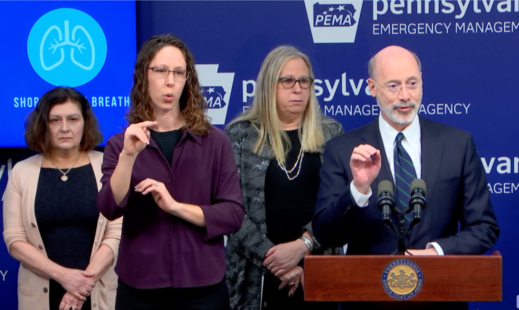 Pennsylvania Gov. Tom Wolf announces the first two confirmed cases of COVID-19 within the state on March 6, 2020.