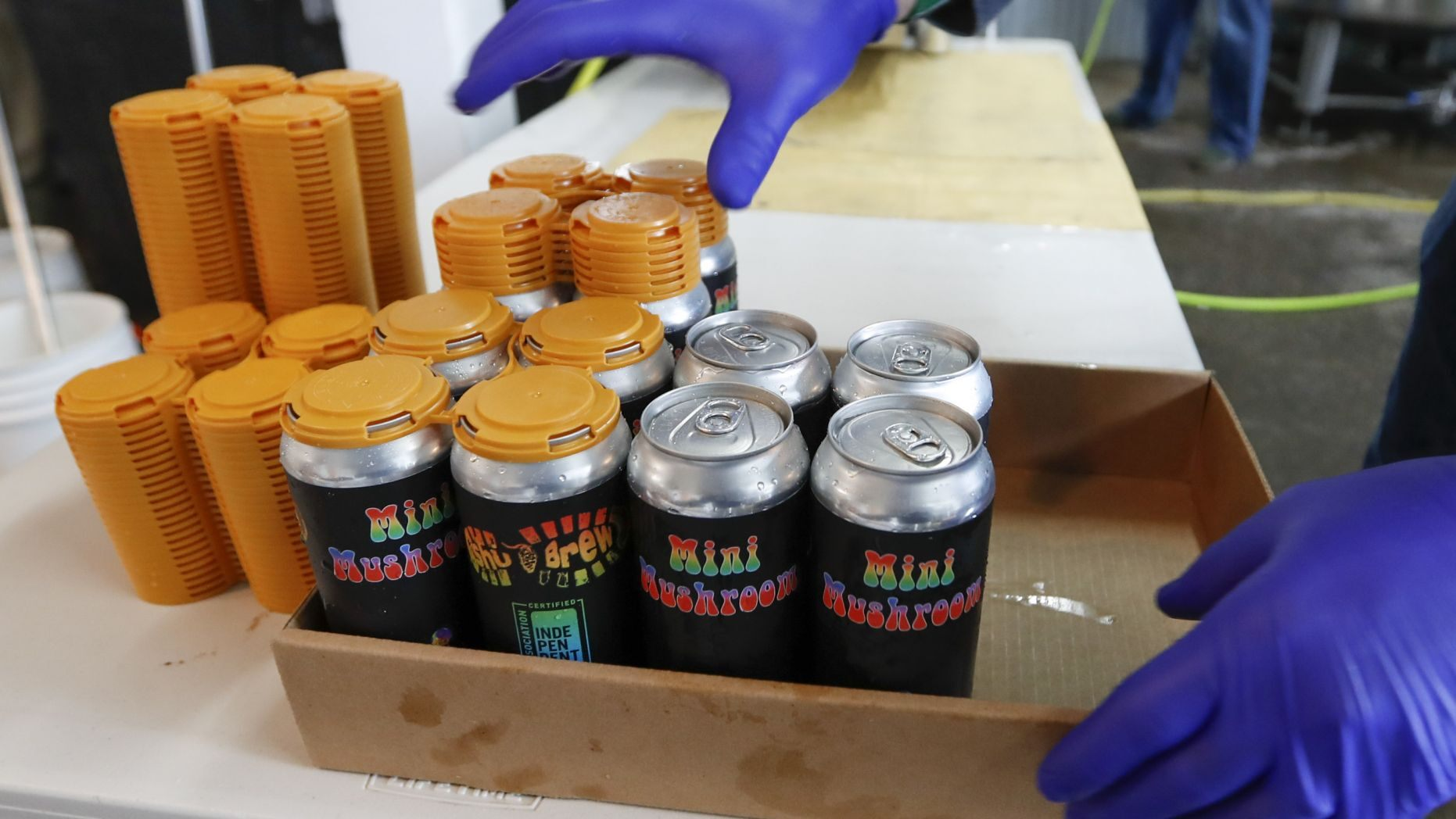 A worker puts four-pack covers on canned beers after they came off the filling conveyor at the ShuBrew craft brewery in Harmony, Pa on April 16.