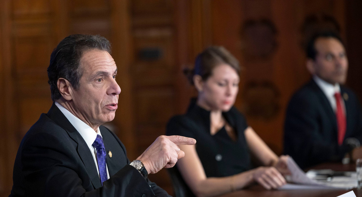 Gov. Andrew Cuomo provides a coronavirus update during a press conference
