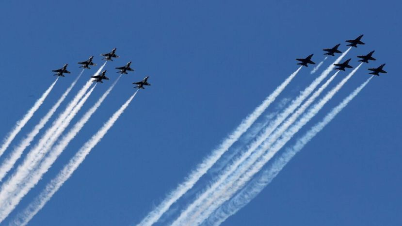 The U.S. military's elite flight demonstration squadrons -- the Navy's Blue Angels and the Air Force's Thunderbirds -- perform