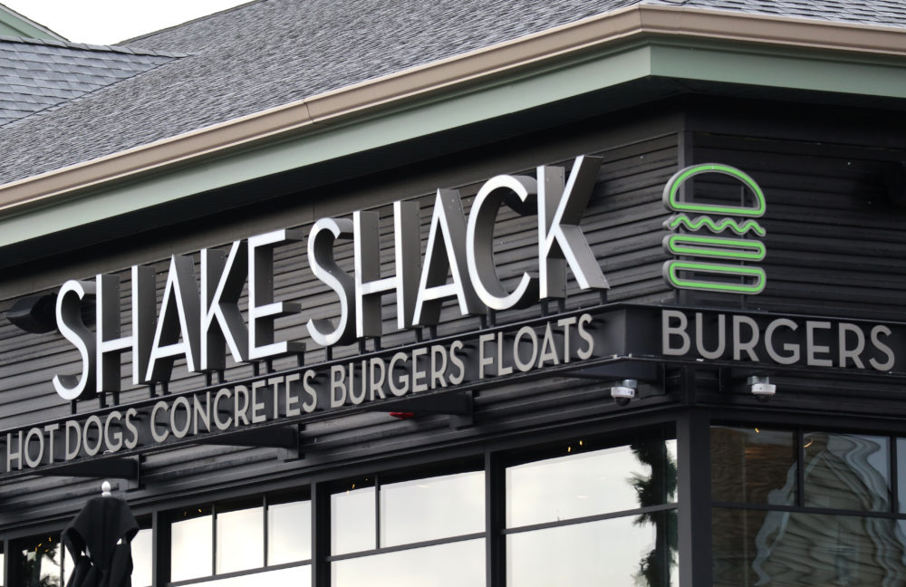 CENTRAL VALLEY, NY - NOVEMBER 17: A Shake Sack sign hangs in front of their restaurant at the Woodbury Common Premium Outlets shopping mall