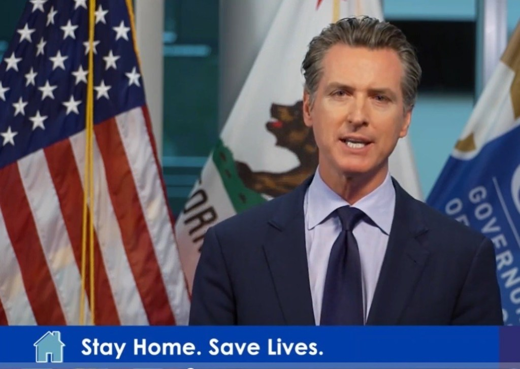 A screenshot of California Gov. Gavin Newsom giving his daily coronavirus press briefing.