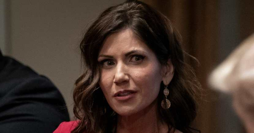 South Dakota Gov. Kristi Noem speaks during a meeting about the Governors Initiative