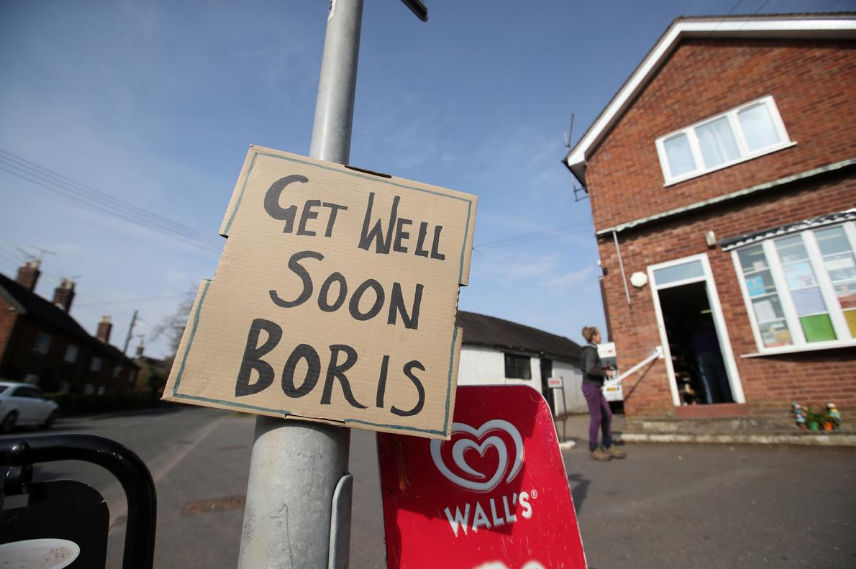 A sign of support for British Prime Minister Boris Johnson,