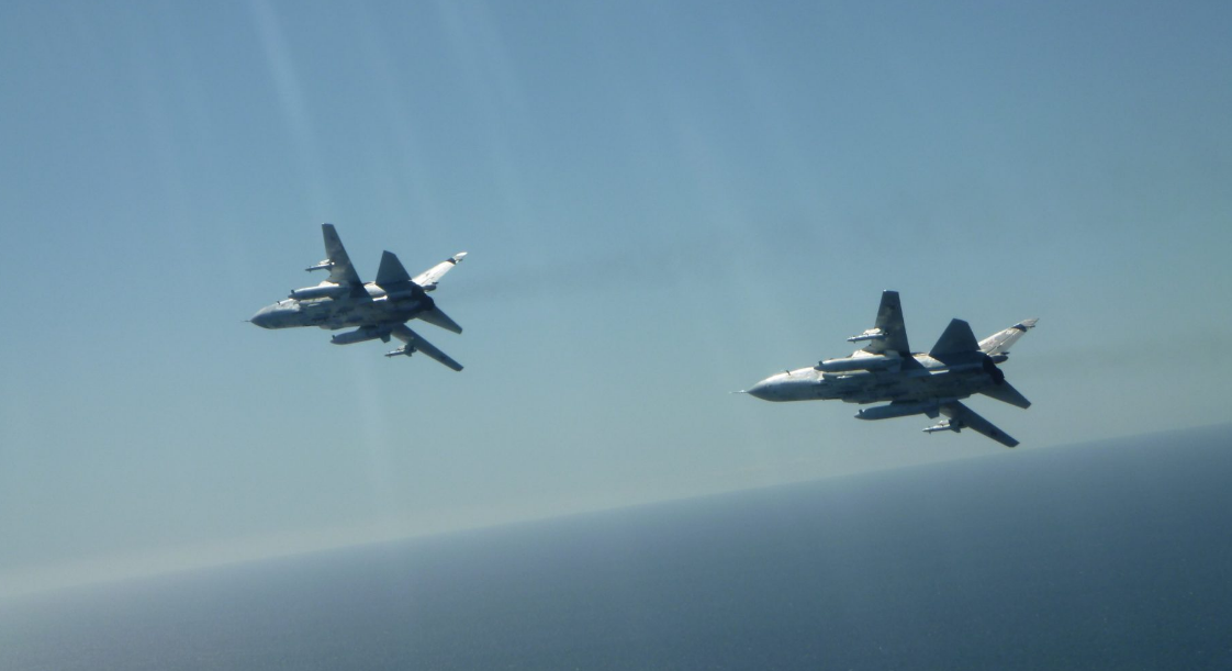 Two Russian SU-24 fighter jets, as pictured from the cockpit of a Belgian F-16 flying an intercept mission over the Baltic Sea, April 17, 2020.