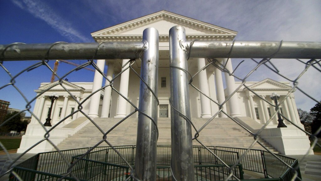 The Virginia Capitol building in Richmond is surrounded by fencing on Jan. 16, 2020,