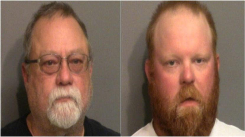 Gregory McMichael, 64, left, and Travis McMichael, 34, are facing charges in the shooting death of Ahmaud Arbery, Georgia authorities say.