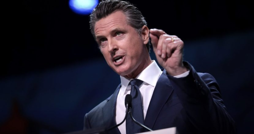 Governor Gavin Newsom speaking with attendees at the 2019 California Democratic Party State Convention ,