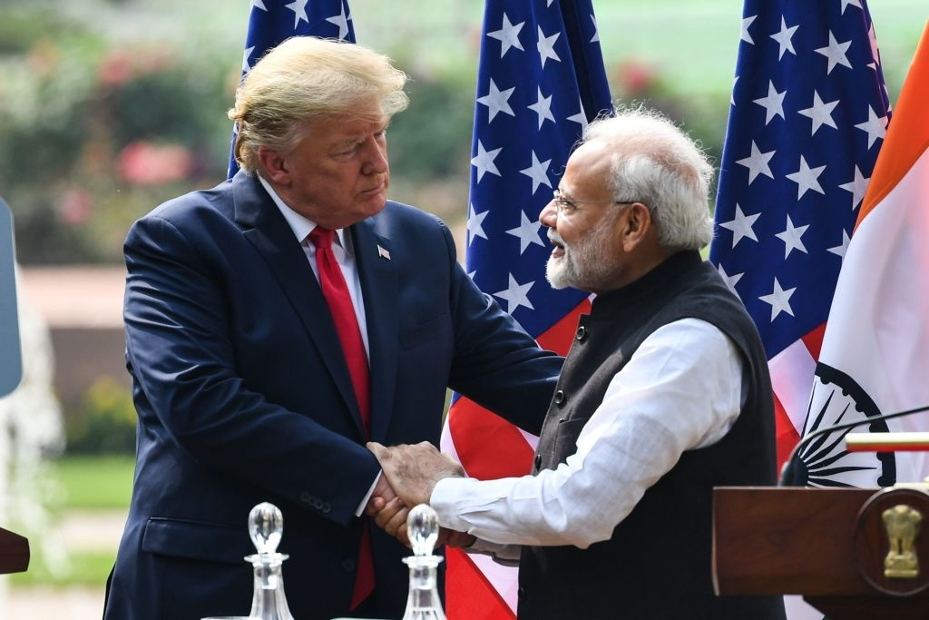 Pictured: US President Donald Trump shakes hands with India's Prime Minister Narendra Modi in New Delhi on February 25, 2020.