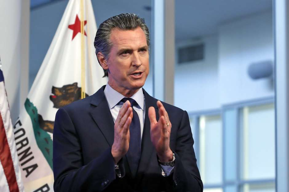 Gov. Gavin Newsom at an April 14 news conference at the Governor's Office of Emergency Services in Rancho Cordova ,