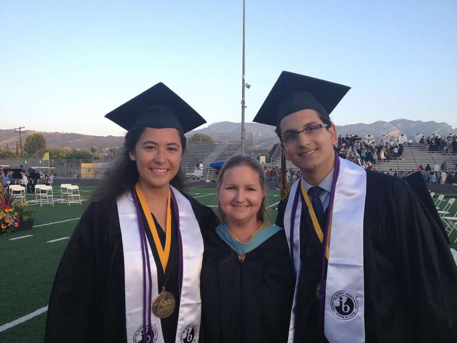 Courtney Brousseau, pictured at right, on the evening he graduated from Newbury Park High School in 2015 in Newbury Park, Calif.