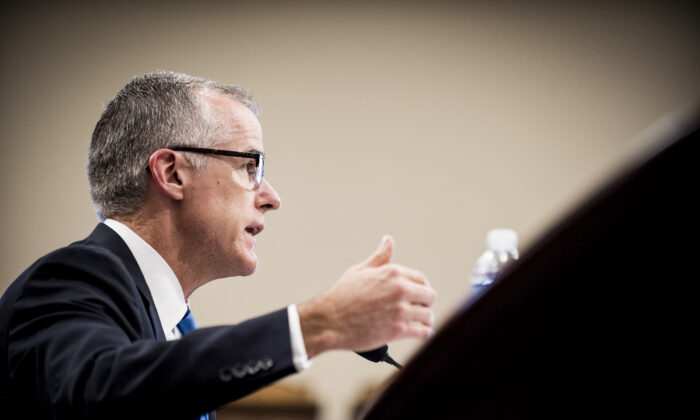 Acting FBI Director Andrew McCabe testifies before a House Appropriations subcommittee meeting on the FBI's budget requests for FY2018 on June 21, 2017.