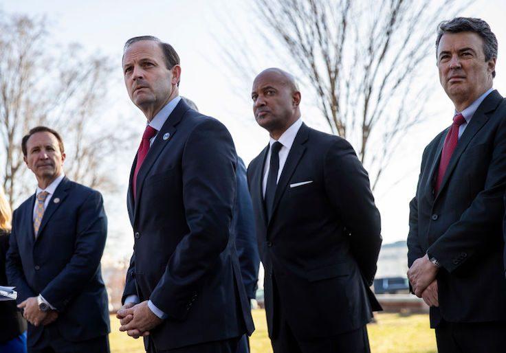 Louisiana Attorney General Jeff Landry, South Carolina Attorney General Alan Wilson, Indiana Attorney General Curtis Hill, and Alabama Attorney General Steve Marshall.