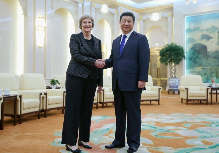Then-Harvard University president Drew Gilpin Faust and Chinese president Xi Jinping / Getty Images