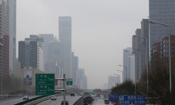 A general view of Jianguo Road in Beijing, China on Feb. 2, 2020.