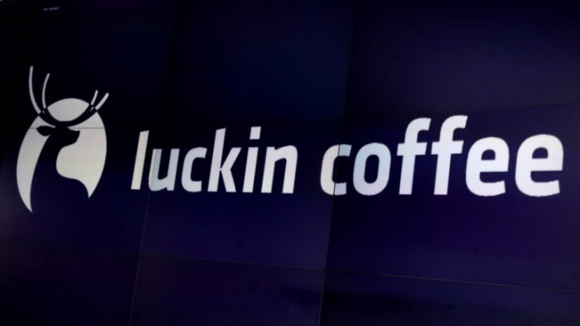 A screen displays the logo for Luckin Coffee during the company's IPO at the Nasdaq Market site in New York, on May 17, 2019.