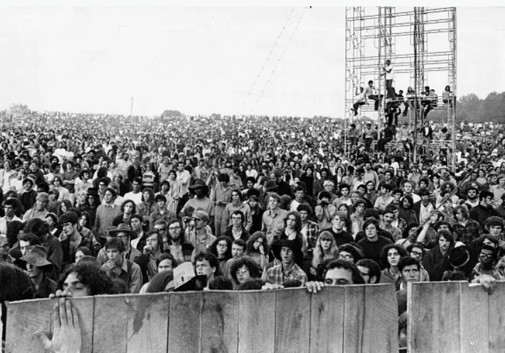 The crowd is pictured at the Woodstock Music Festival in White Lake, NY on Aug. 17, 1969.