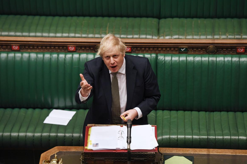 Britain's Prime Minister Boris Johnson speaks during the weekly question time debate in Parliament in London, Britain May 6, 2020.