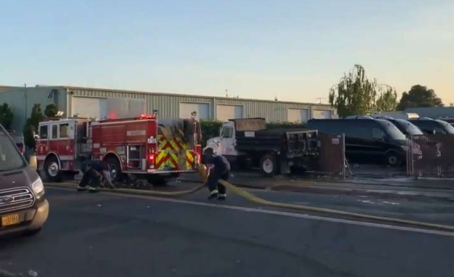 Alameda County Fire Crew on scene after an explosion at a commercial building in San Leandro on the 1700 block of Timothy Street on May 7, 2020.