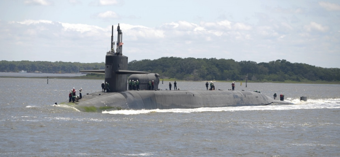 The Ohio-class guided-missile submarine USS Florida (SSGN 728) returns to its homeport, Naval Submarine Base Kings Bay, Georgia, May 9, 2020.