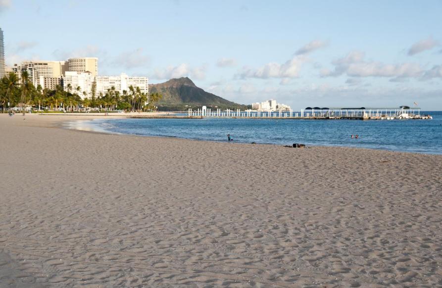 FILE PHOTO: Waikiki Beach is nearly empty due to the business downturn caused by the coronavirus disease (COVID-19) in Honolulu, Hawaii, U.S. April 28, 2020.