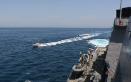 NORTH ARABIAN GULF (April 15, 2020) Iranian Islamic Revolutionary Guard Corps Navy (IRGCN) vessels conducted unsafe and unprofessional actions against U.S. Military ships by crossing the ships' bows and sterns at close range while operating in international waters of the North Arabian Gulf.