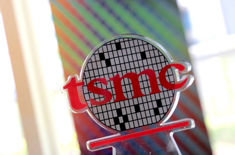 A logo of Taiwan Semiconductor Manufacturing Co (TSMC) is seen at its headquarters in Hsinchu, Taiwan, on Oct. 5, 2017.