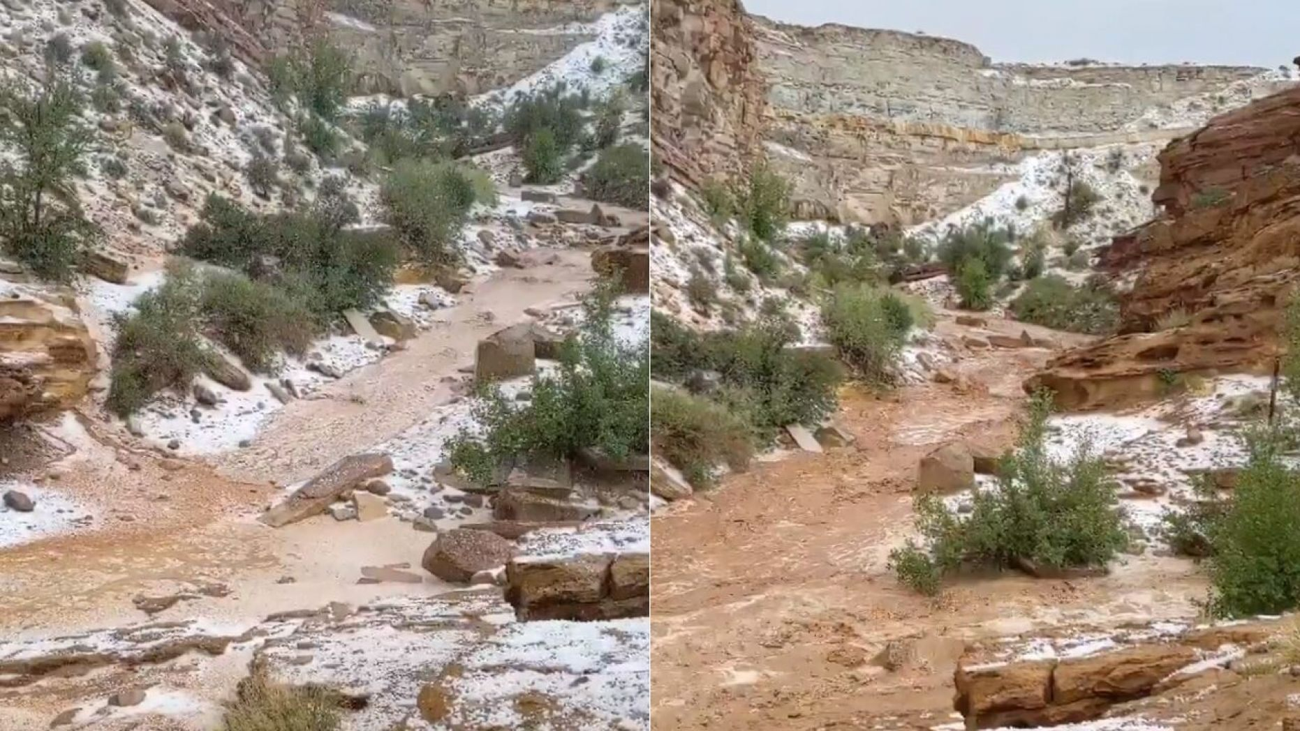 Flooding hit Little Wild Horse Canyon on Monday after an an isolated thunderstorm storm crossed nearby Goblin Valley State Park,