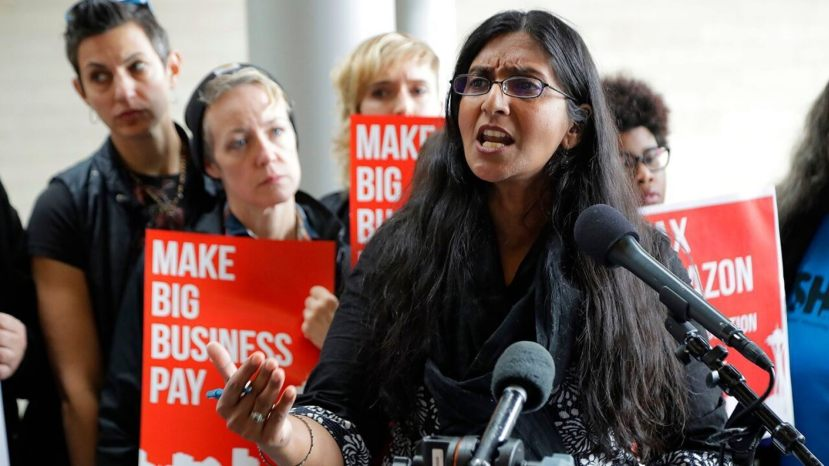 In this June 12, 2018, file photo, Seattle City Council member Kshama Sawant speaks at City Hall in Seattle.