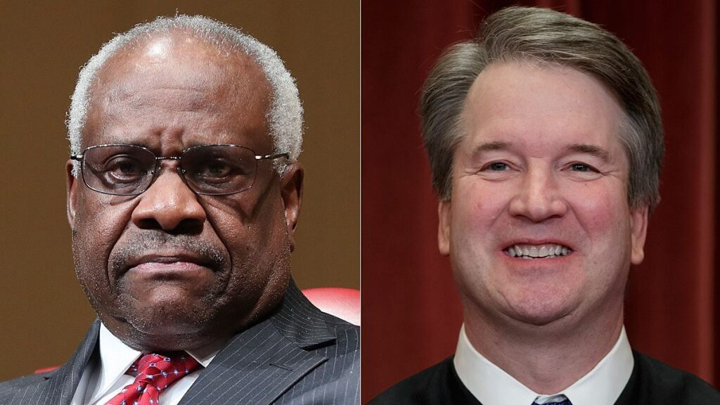 "Supreme Court Justices Brett Kavanaugh and Clarence Thomas joined forces on a dissent Monday charging their Supreme Court colleagues with a ""decade-long failure to protect the Second Amendment."" (AP)"