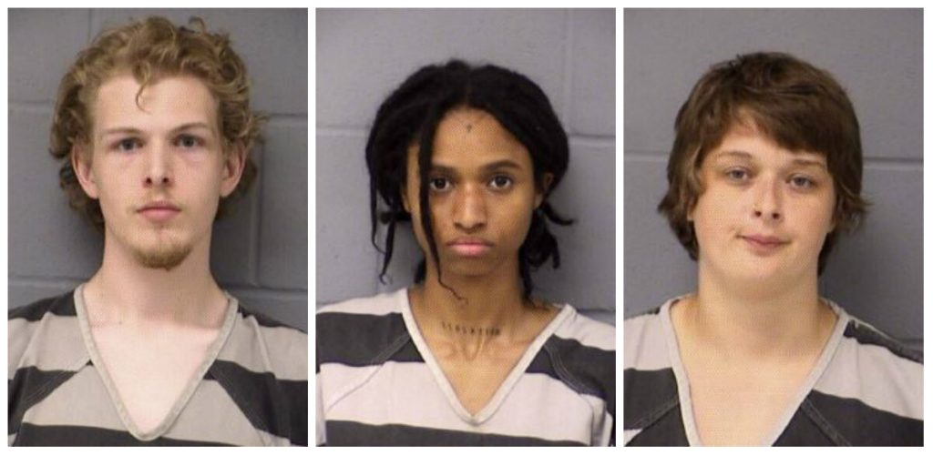 Samuel Miller, left, Lisa Hogan, center, and Skye Elder, members of an anti-government group that describes itself as part of the Antifa network, were arrested on charges including riot and burglary, Texas officials said.