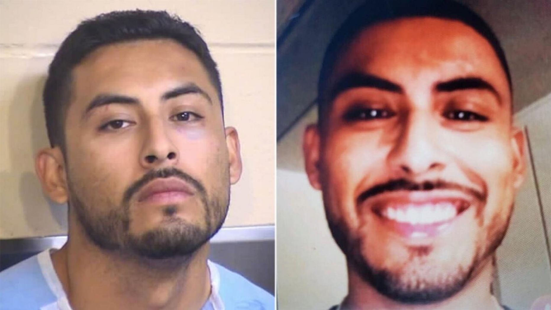 Fabian Ornelas, 30, in mugshot photo and in what detectives say is his Tinder profile photo.