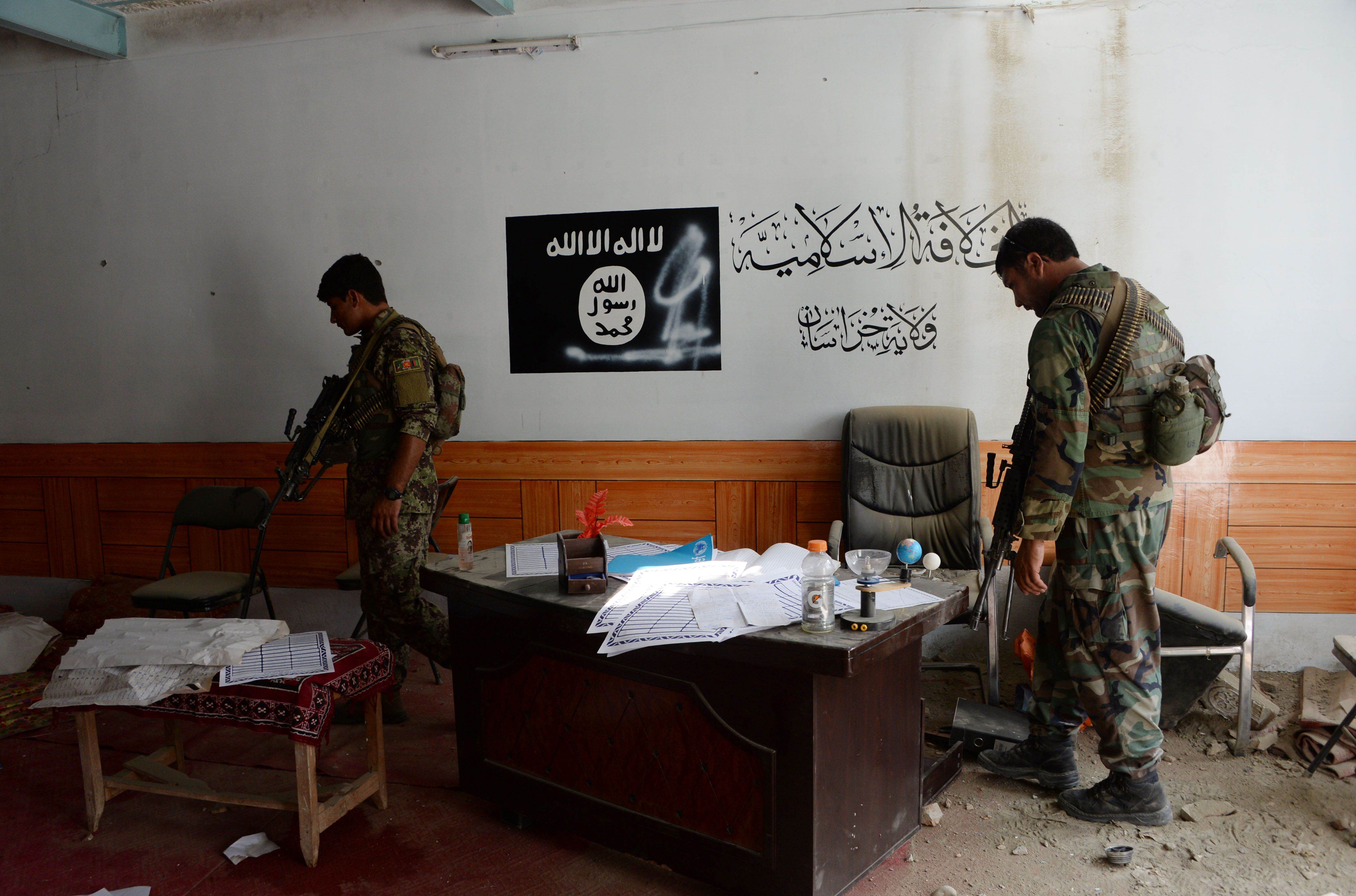 Afghan security forces patrol area controlled by ISIS