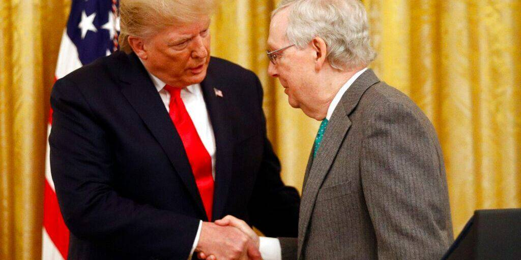President Donald Trump shakes hands with Senate Majority Leader Mitch McConnell of Ky., in the East Room of the White House,