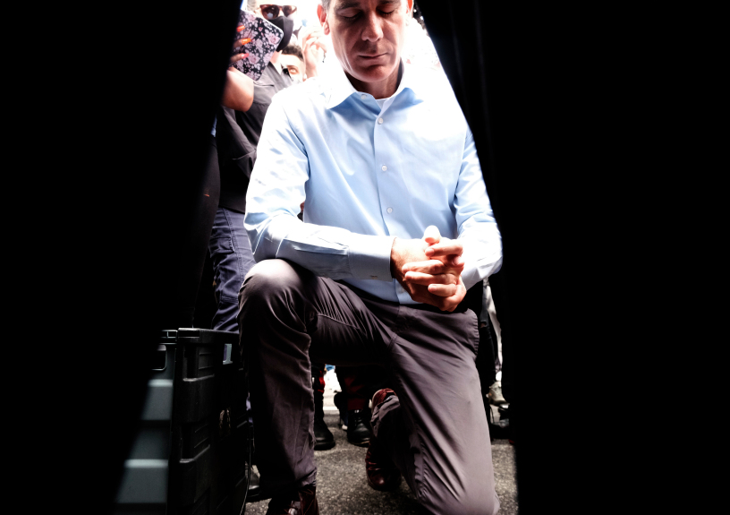 Mayor Eric Garcetti takes a knee in prayer during a Black Lives Matter protest in downtown Los Angeles on Tuesday, June 2, 2020.