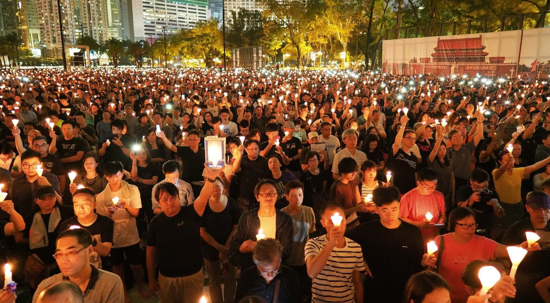 180000 turned out for a mass candlelight vigil organised by the Hong Kong Alliance in support of Patriotic Democratic Movement of China,