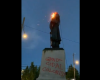 Protesters in Portland lit a US flag on fire and draped it around a George Washington Statue they later pulled down.