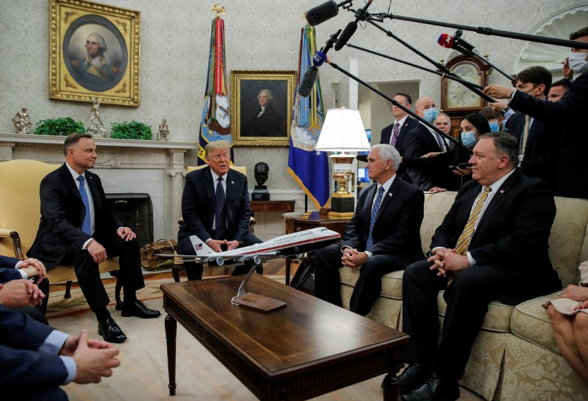 U.S. President Donald Trump speaks during a meeting with Poland's President Andrzej Duda in the Oval Office at the White House in Washington, U.S., June 24, 2020.