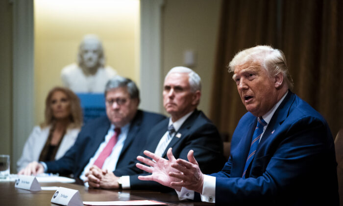 President Donald Trump speaks during a roundtable at the Cabinet Room of the White House in Washington on June 15, 2020.