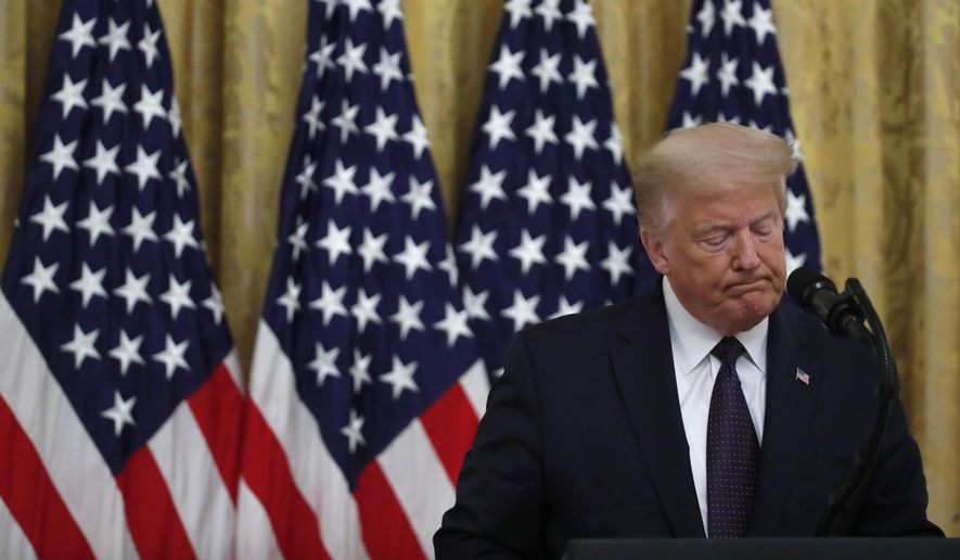 "President Donald Trump pauses as he speaks about the PREVENTS ""President's Roadmap to Empower Veterans and End a National Tragedy of Suicide,"""