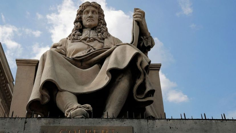 The statue of French statesman Jean-Baptiste Colbert is pictured in front of the French National Assembly in Paris Wednesday June 10, 2020.