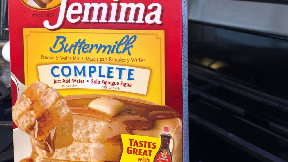 A box of Aunt Jemima pancake mix sits on a stovetop Wednesday, June 17, 2020, in Harrison, N.Y. Pepsico is changing the name and marketing image of its Aunt Jemima pancake mix and syrup, according to media reports.