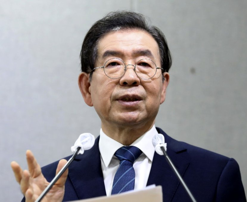 Seoul Mayor Park Won-soon speaks during a press conference at Seoul City Hall in Seoul, South Korea Wednesday, July 8, 2020