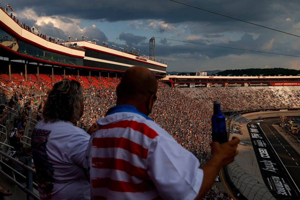 Fans cheer during the Nascar Cup Series All-Star Race at Bristol Motor Speedway on Wednesday night in Tennessee. Nascar allowed up to 30,000 fans to attend the race.