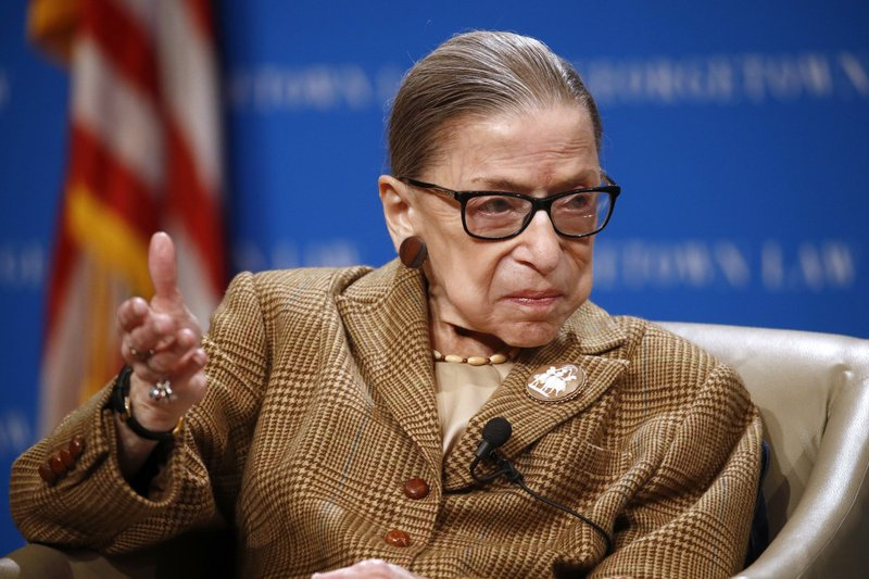 FILE - In this Feb. 10, 2020, file photo U.S. Supreme Court Associate Justice Ruth Bader Ginsburg speaks,