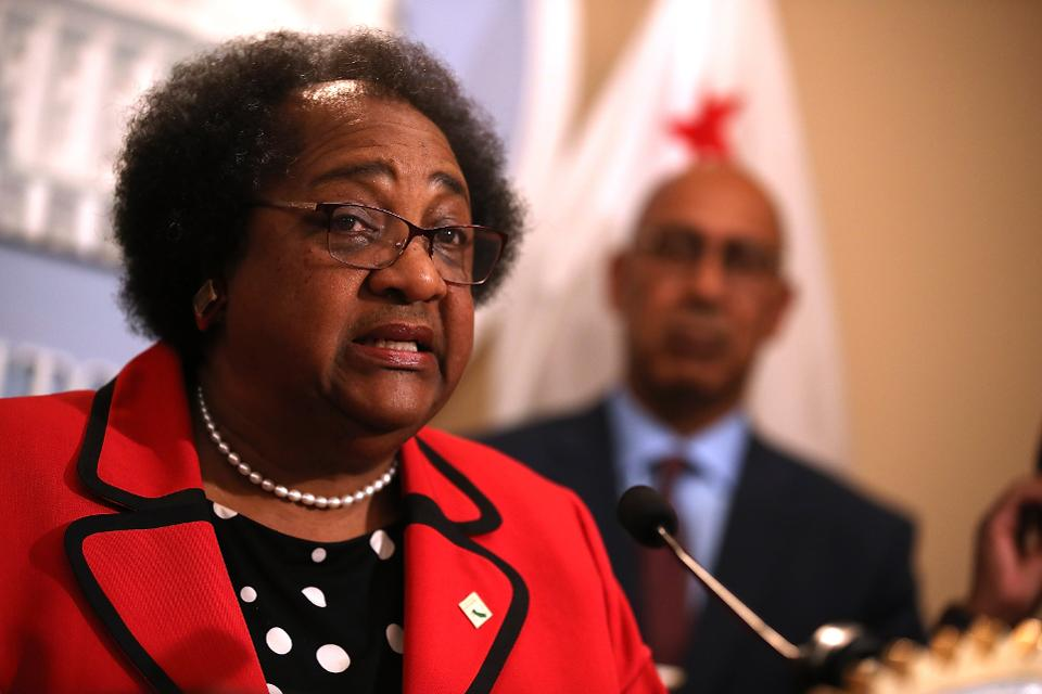 California State Assemblymember Shirley Weber (D-San Diego) speaks during a news conference.