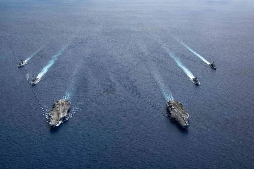 The USS Ronald Reagan and USS Nimitz in the South China Sea, July 6, 2020.