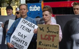 Protest against Russia's banning of Moscow Gay Pride,
